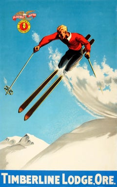 Original Vintage 1930s Ski Poster For Timberline Lodge Oregon & Splitkein Ostbye