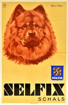 Original Vintage Advertising Poster Selfix Schals Scarves Chow-Chow Dog Artwork