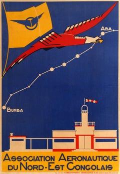 Original Vintage Africa Congo Aeronautic Poster Assn Aeronautique NE Congolais