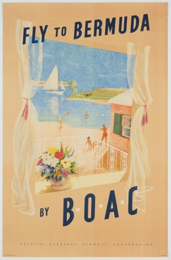 Original Vintage Airline Poster – Fly to Bermuda by BOAC, ca. 1960