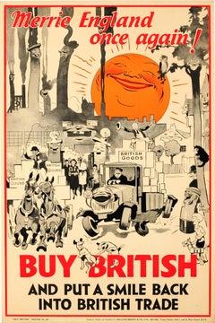 Original Vintage Buy British Poster - Merrie England Once Again! - British Trade
