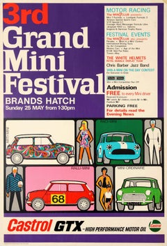 Original Vintage Car Poster Grand Mini Festival Brands Hatch Mod Sixties Design