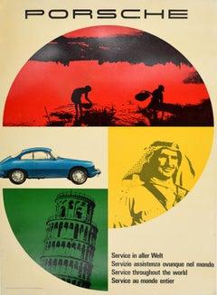 Original Vintage Car Poster Porsche Service In Aller Welt Throughout The World