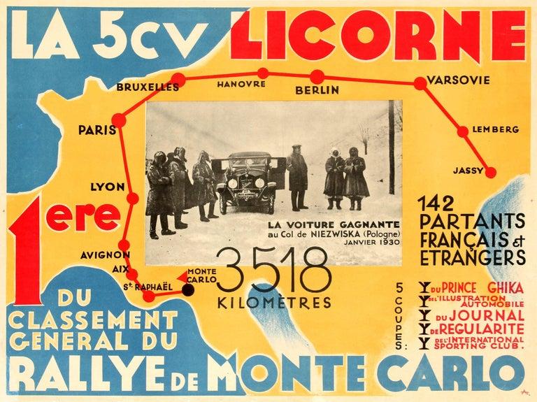 Unknown Print - Original Vintage Car Racing Poster - La 5cv Licorne Rallye De Monte Carlo Rally
