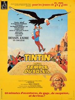 Original Vintage Cartoon Film Poster Tintin Et Le Temple Du Soleil Family Movie
