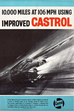 Original Vintage Castrol Motor Racing Poster Monza Circuit Jaguar 3.8 Mark 2 Car