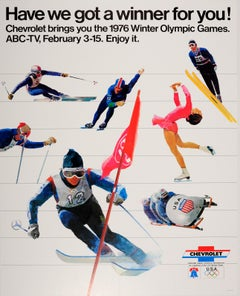 Original Vintage Chevrolet US Team Sport Poster 1976 Winter Olympic Games ABC-TV