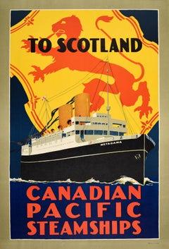 Original Vintage Cruise Travel Poster Scotland Canadian Pacific Steamships Lion