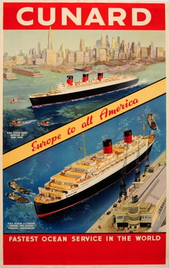 Original Vintage Cunard Poster Queen Mary New York & Queen Elizabeth Southampton