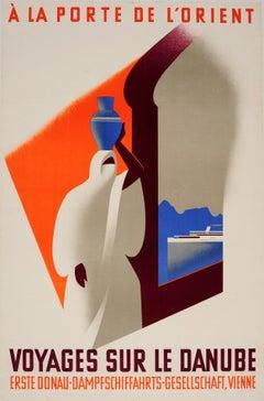 Original Vintage Danube River Cruise Ship Travel Poster - Voyages Sur Le Danube