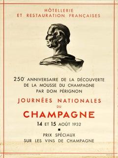 Original Vintage Drink Poster Dom Perignon Champagne French Wine 250 Anniversary