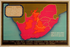 Original Vintage Empire Marketing Board Poster Ft Union Of South Africa & UK Map