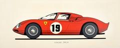 Original Vintage Ferrari 250LM Sports Car Advertising Poster Paris Motor Show