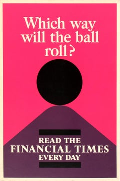 Original Vintage Financial Times Poster Which Way Will The Ball Roll Read The FT