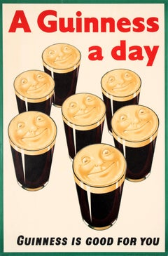 Original Vintage Guinness Is Good For You Poster A Guinness A Day Beer Drink Ad