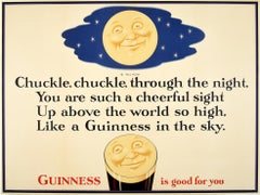 Original Vintage Guinness Is Good For You Poster Full Moon Design Beer Drink Ad