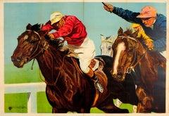 Original Vintage Horse Racing Sport Poster Ft. Painting Of Jockeys In Horse Race