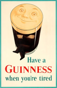 Original Vintage Iconic Beer Drink Poster - Have A Guinness When You're Tired