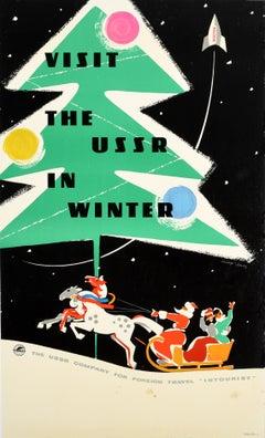 Original Vintage Intourist Travel Poster Visit The USSR In Winter Space Rocket