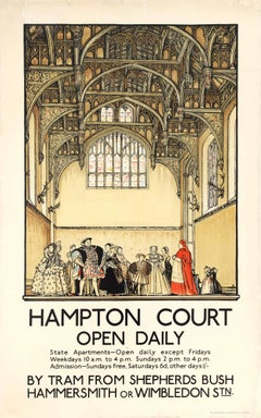 Original Vintage London Transport Poster Hampton Court Palace King Henry VIII