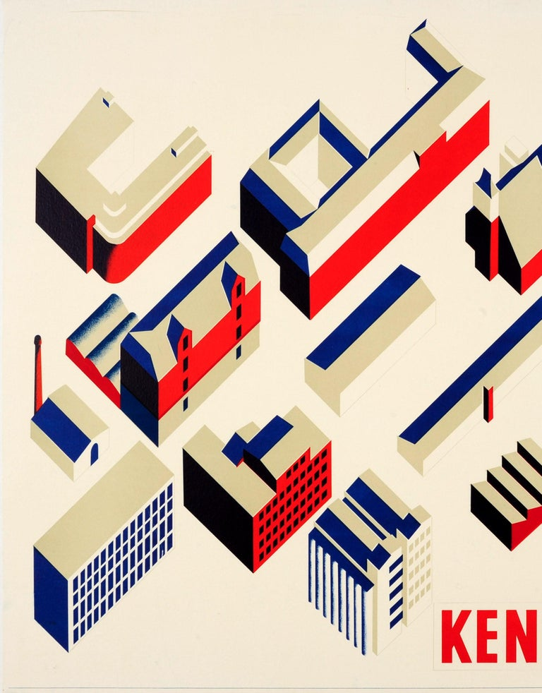 Original Vintage Modernist Design Architecture Poster Kender De FDB (Coop Amba) - Print by Unknown