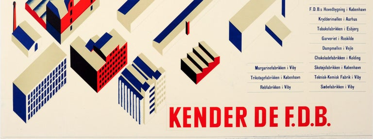 Original vintage poster advertising the Danish Cooperative FDB (now the Coop Amba) featuring a great Modernist design depicting different buildings and architecture along with a list of companies from the Cooperative including a chocolate factory,