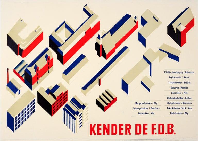 Unknown Print - Original Vintage Modernist Design Architecture Poster Kender De FDB (Coop Amba)