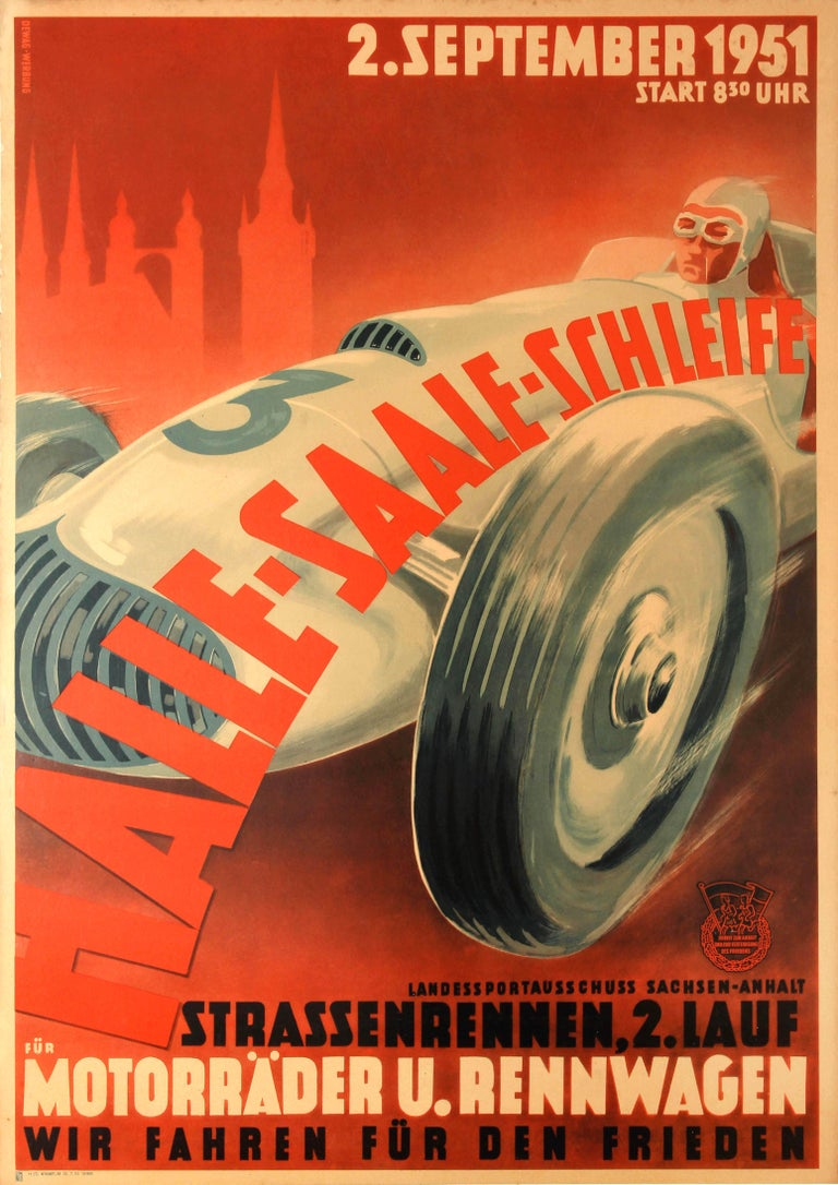 Unknown Print - Original Vintage Motor Car Racing Event Poster For The 1951 Halle Saale Schleife