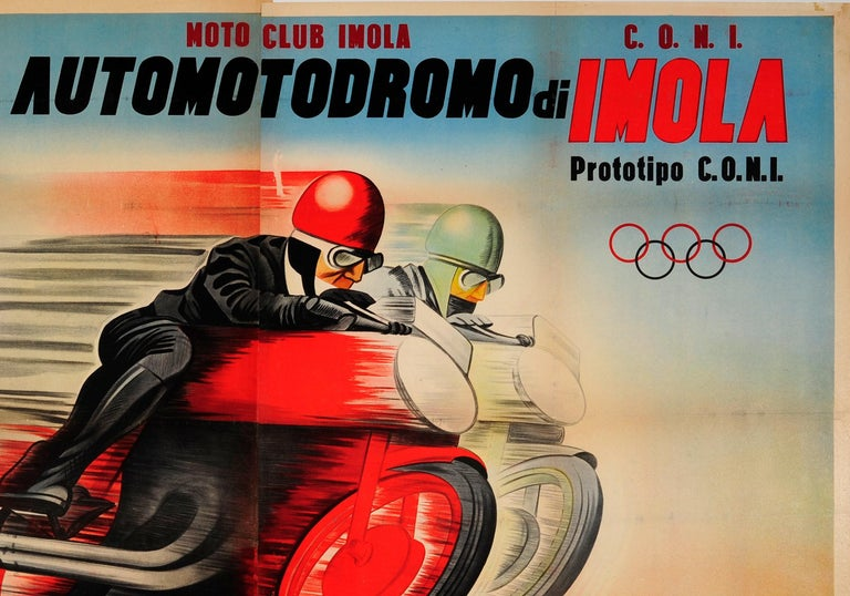 Original Vintage Motorcycle Racing Poster For Automotodromo Di Imola Coppa D'Oro - Beige Print by Unknown