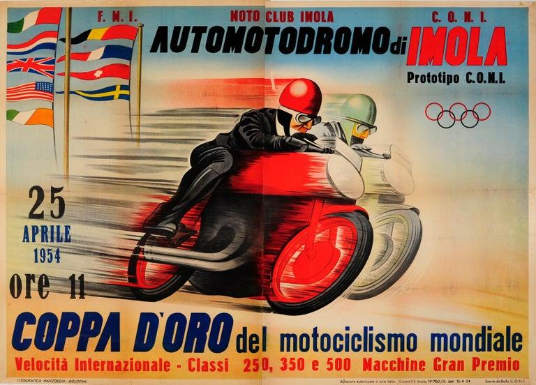 Unknown Print - Original Vintage Motorcycle Racing Poster For Automotodromo Di Imola Coppa D'Oro