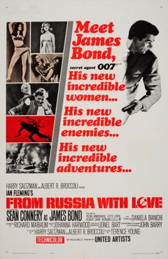 Original Vintage Movie Poster For The 007 James Bond Film From Russia With Love