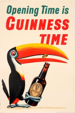 Original Vintage Opening Time Is Guinness Time Drink Poster Iconic Toucan Design