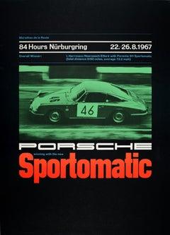 Original Vintage Porsche 911 Sportomatic Poster Nurburgring Endurance Motor Race