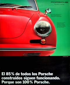 Original Vintage Poster 100% Porsche 356 B Classic Sports Car Advertising Design