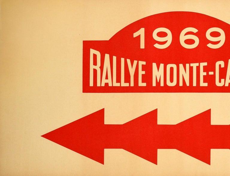 Original Vintage Poster 1969 Rallye Monte Carlo Rally Racing Motor Sport Monaco - Print by Unknown