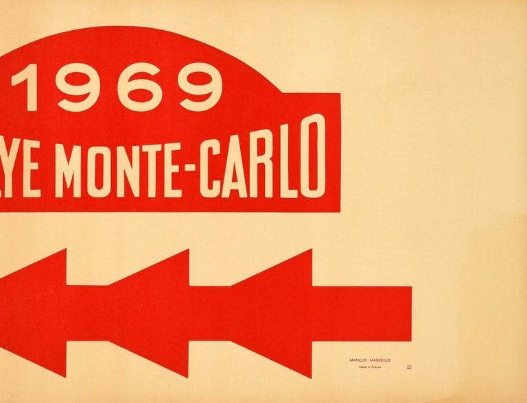 Original Vintage Poster 1969 Rallye Monte Carlo Rally Racing Motor Sport Monaco - Orange Print by Unknown