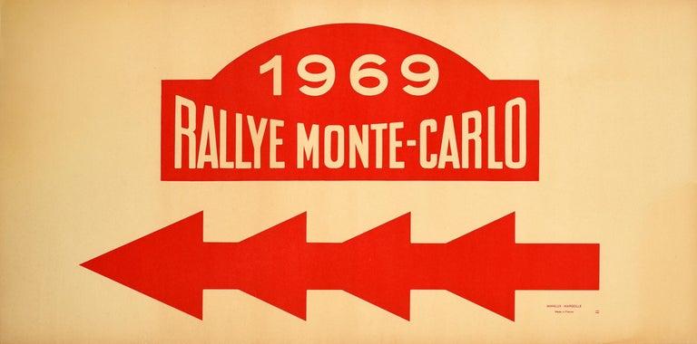 Unknown Print - Original Vintage Poster 1969 Rallye Monte Carlo Rally Racing Motor Sport Monaco