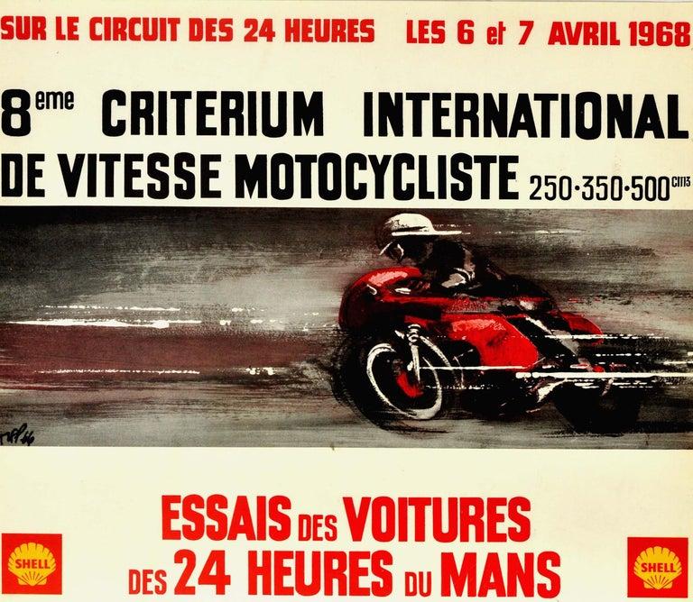 Original Vintage Poster 24 Heures Du Mans 1968 Motorcycle Car Race Le Mans Sport - Print by Unknown