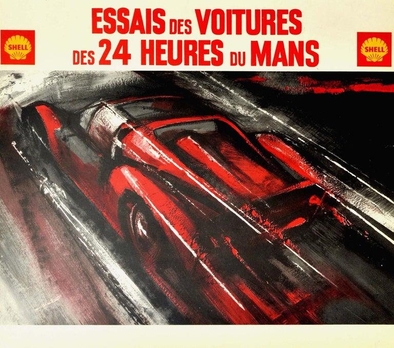 Original Vintage Poster 24 Heures Du Mans 1968 Motorcycle Car Race Le Mans Sport - Beige Print by Unknown