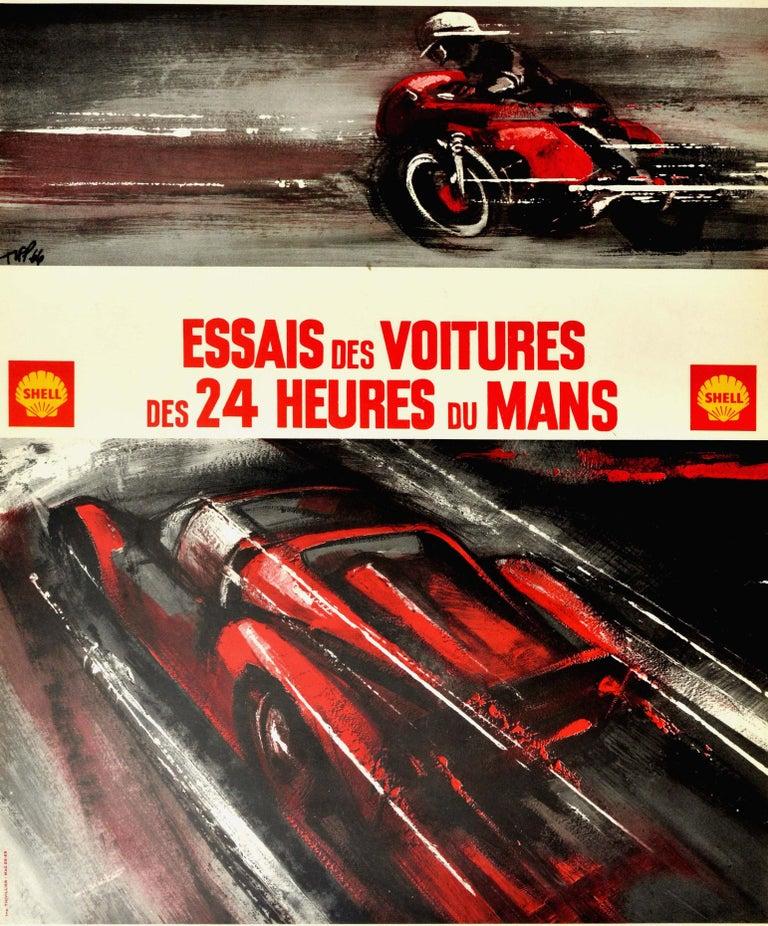 Original vintage motor sport poster for the 8eme Criterium International de Vitesse Motocycliste essais des voitures des 24 Heures du Mans sur les circuit des 24 heures les 6 et 7 Avril 1968 / 8th international motorcycle speed event and the 24