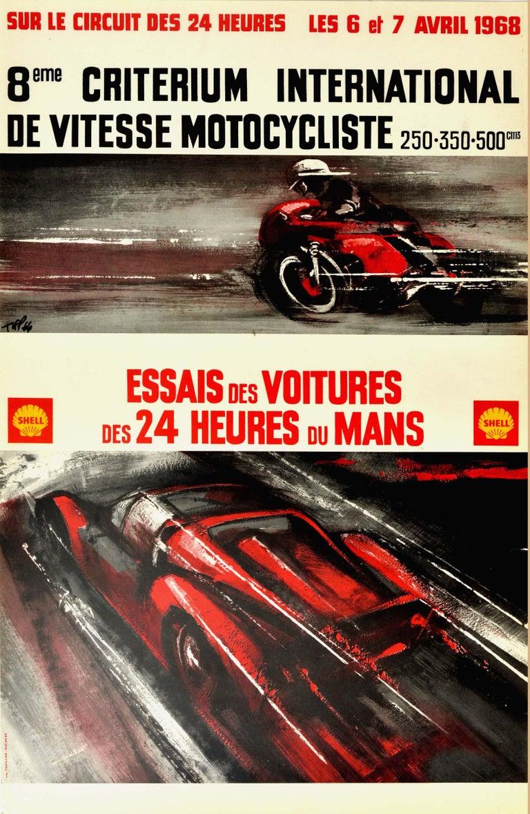 Unknown Print - Original Vintage Poster 24 Heures Du Mans 1968 Motorcycle Car Race Le Mans Sport