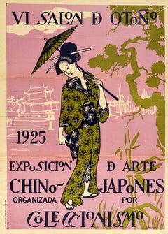 Original Vintage Poster Art Exhibition China Japan VI Autumn Salon Madrid Spain