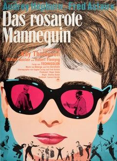 Original Vintage Poster Audrey Hepburn Fred Astaire Funny Face Movie German Art