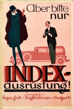 Original Vintage Poster Automobile Parts Index Ausrustung Stuttgart Classic Car