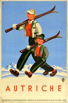Original Vintage Poster Autriche Austria Winter Sport Ski Travel Mountain Skier