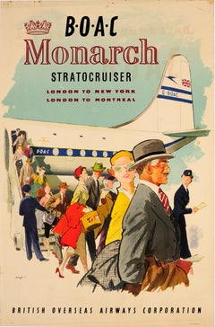 Original Vintage Poster BOAC Monarch Stratocruiser London To New York & Montreal