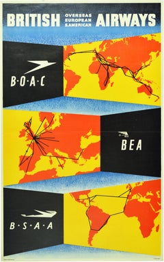 Original Vintage Poster British Airways BOAC BSAA BEA World Route Map Air Travel