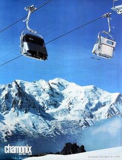 Original Vintage Poster Chamonix Mont Blanc France Index Winter Sport Ski Resort