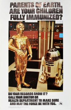 Original Vintage Poster Children's Immunization Public Health Star Wars Droids