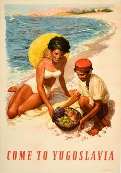 Original Vintage Poster Come To Yugoslavia Adriatic Coast Sea Summer Travel Art